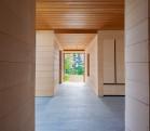 East House main corridor, alaskan yellow cedar planking.