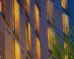 Kripalu Housing Tower sliding Cypress screens dusk
