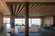 Chappaquiddick house living room and fireplace.