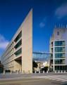 MIT Stata Center viewed framed by the  I. M. Pei designed Landau