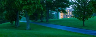 Kripalu Housing Tower in the landscape at dusk