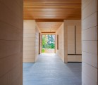 East House main corridor, alaskan yellow cedar planking.